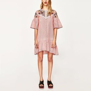 Zara embroidered red striped dress
